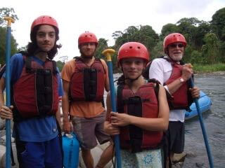 Gearing up for some white water rafting.  Without wetsuits!  Photo by V.