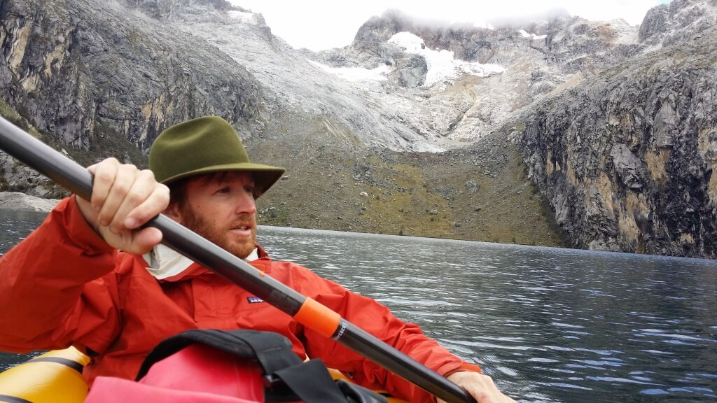 Paddling Laguna Churup.  Photo by V.