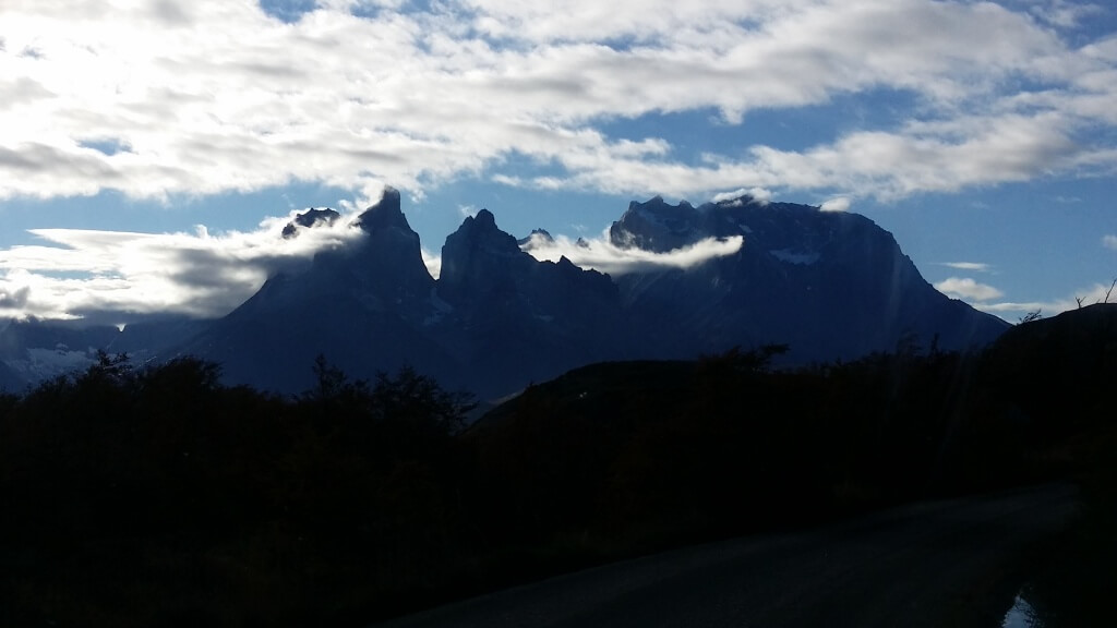 Torres del Paine from the top of our hike. Photo: Amelia