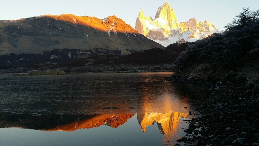 Mt. Chalten or Fitz Roy glows in the sunrise. Photo: V