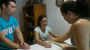 Making bread with Joel and Angelica.  Photo by Victoria