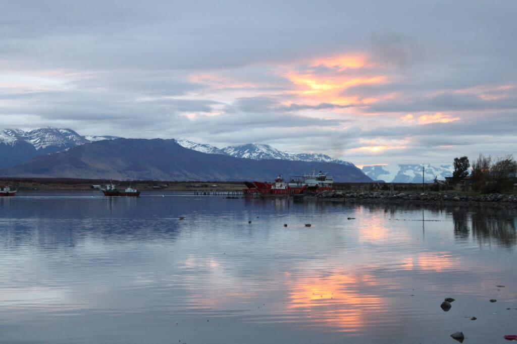View of the mountains and sea from Puerto Natales. Photo: Nate