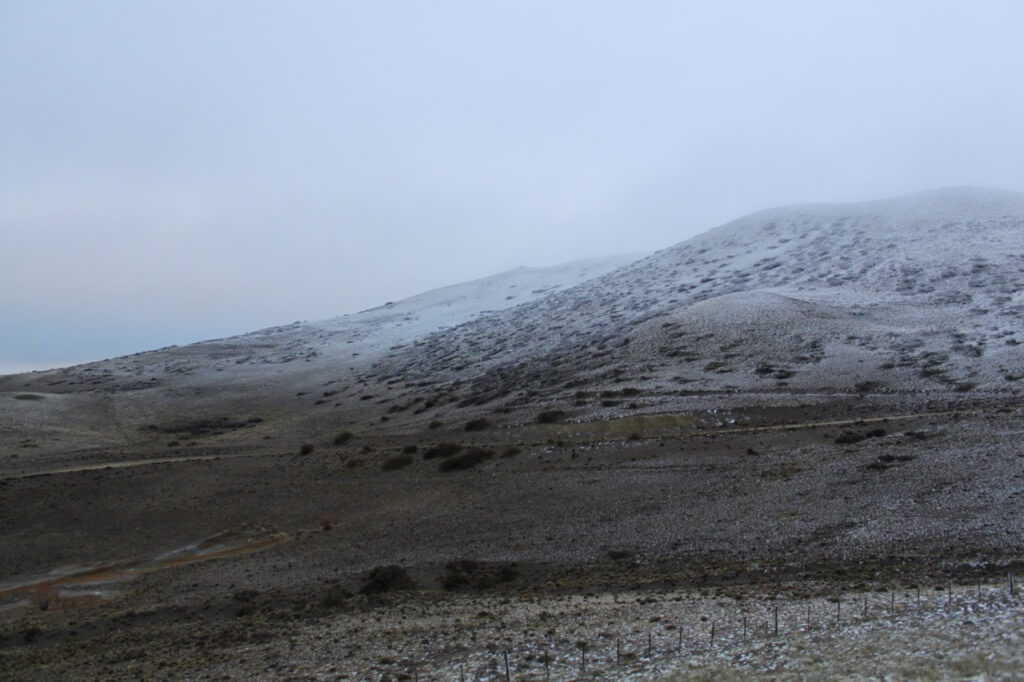 Snow on the dry hills south of Perito Moreno.  Photo - V.