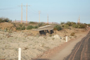 A reminder of what Baja can be like during a storm.  The road washed out in a huge storm a year ago.  Photo by Amelia.