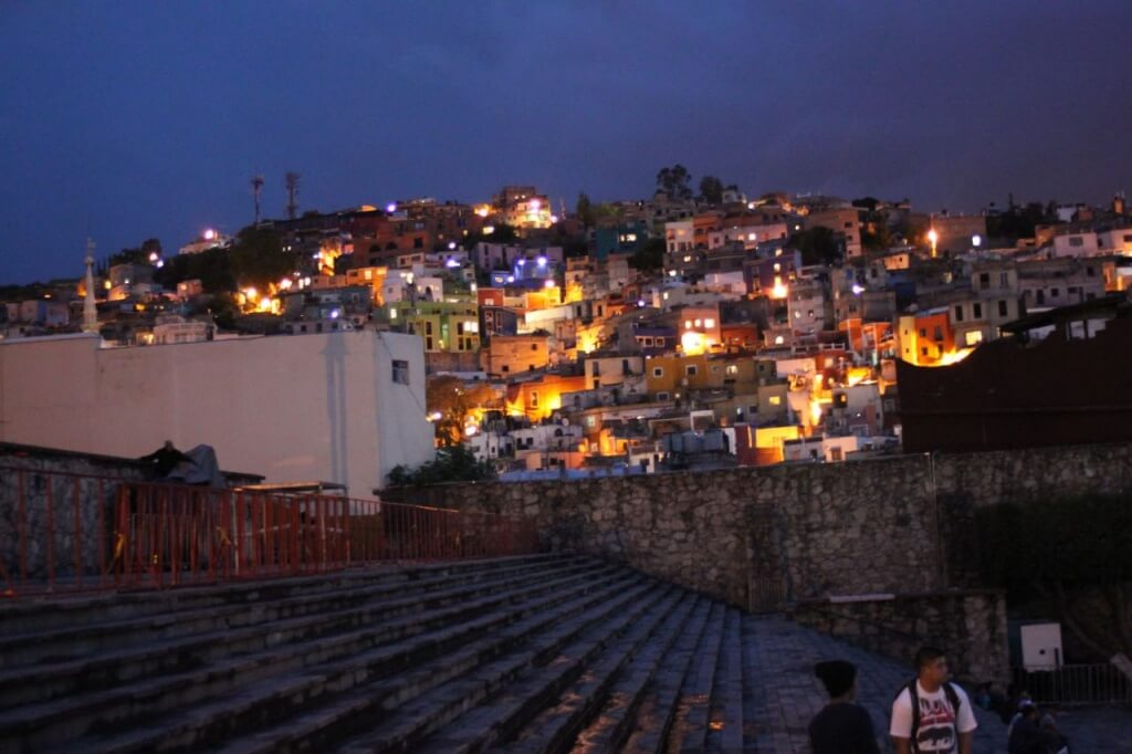 Crowded, beautiful Guanajuato from the  Alhóndiga de Granaditas plaza. Photo by Nate.