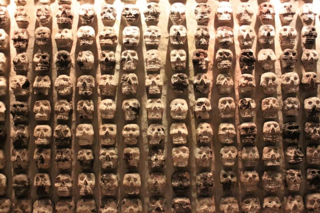 Representation of the skull wall at the museum. Photo: Amelia