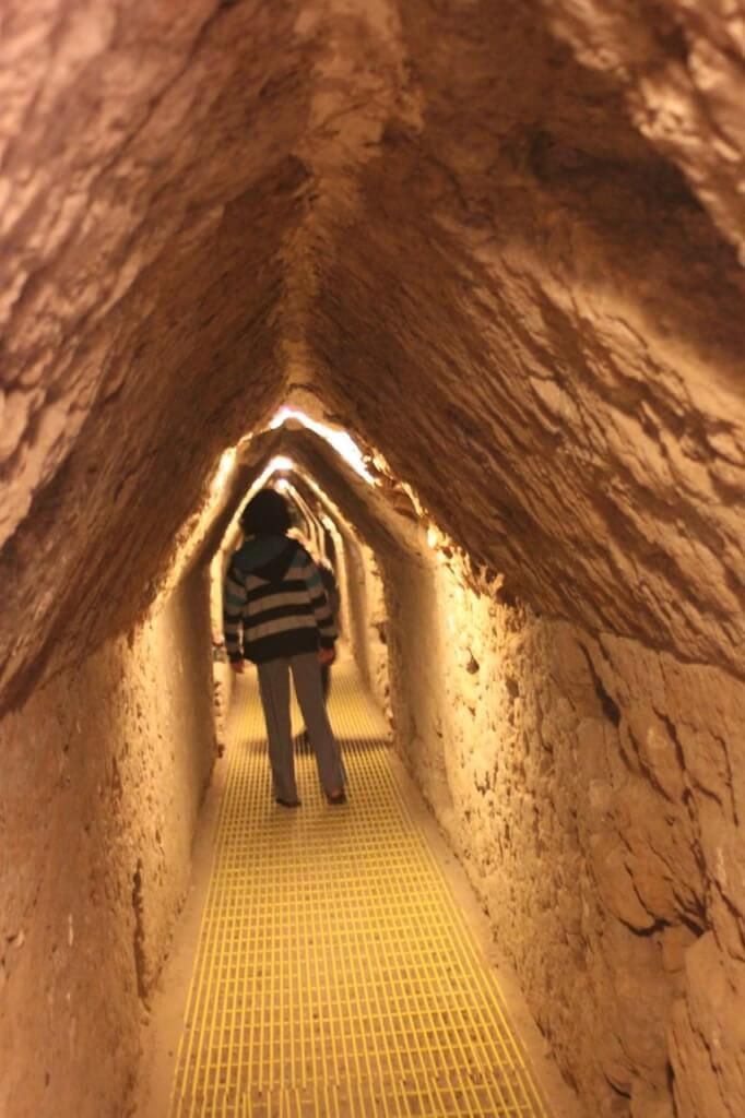 Walking under the pyramid in Cholula, Mexico.  Photo - Nate