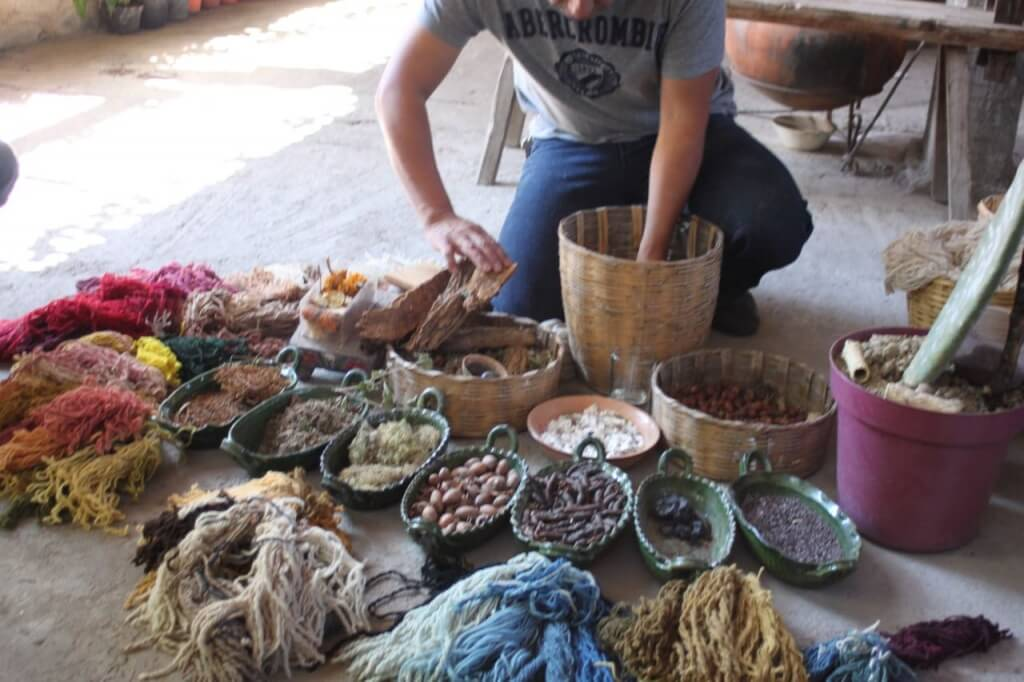 Natural dyes for the wool rugs.  Photo - Victoria