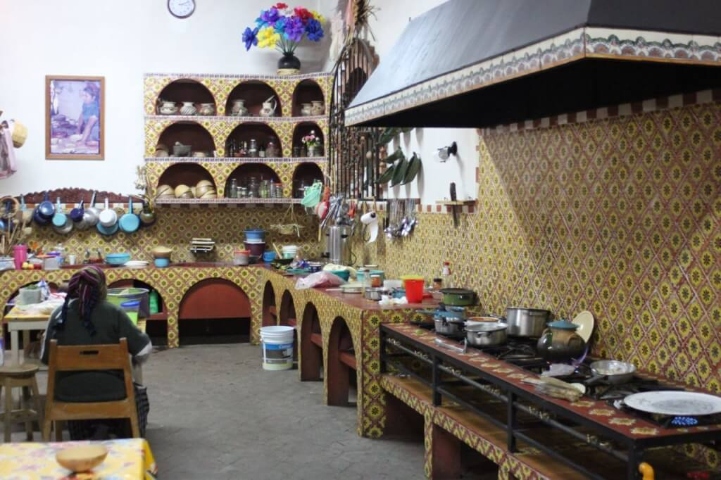The kitchen in Teotitlan's well known Zapotec restaurant. Photo - Nate