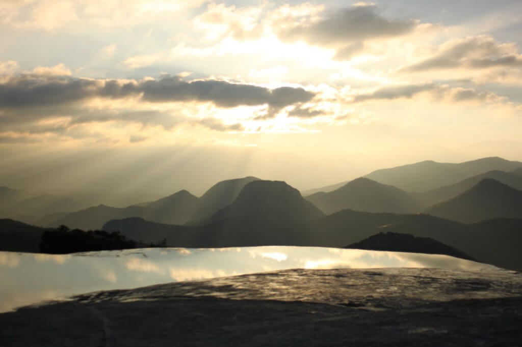 Morning rays at Hierve el Agua.  Photo - Nate
