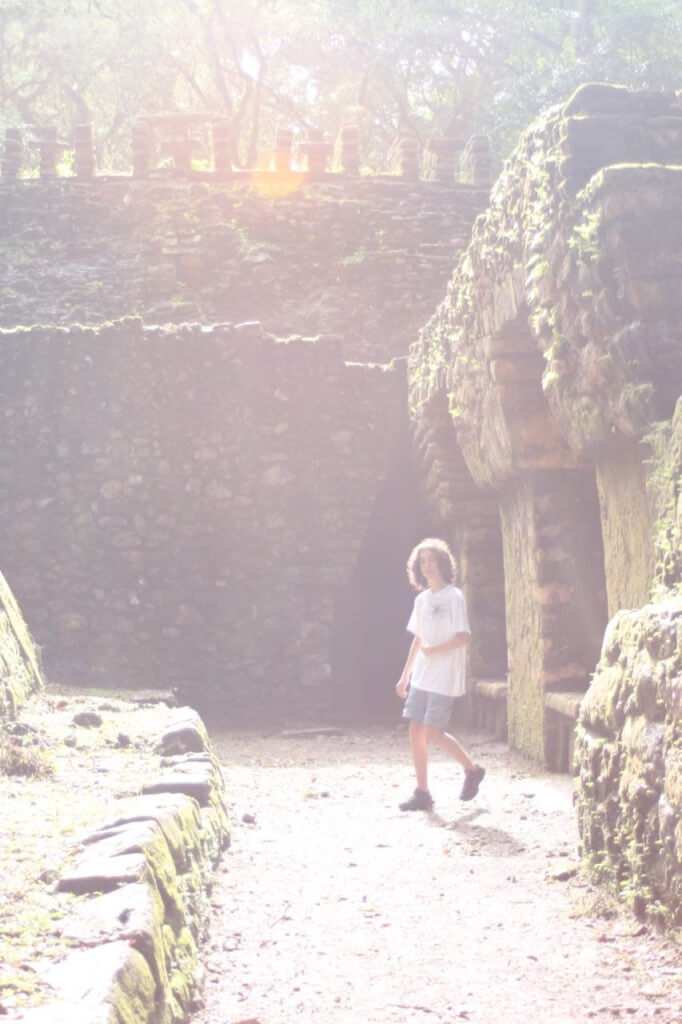 As we enter the ruins, Benjamin is pondering whether to go in. Photo by  Victoria