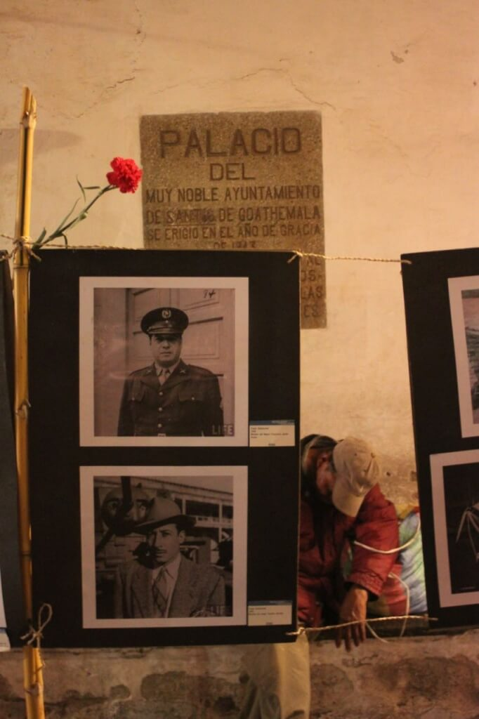 Photo display of Guatemala's past the night before elections. Photo: Nate and V