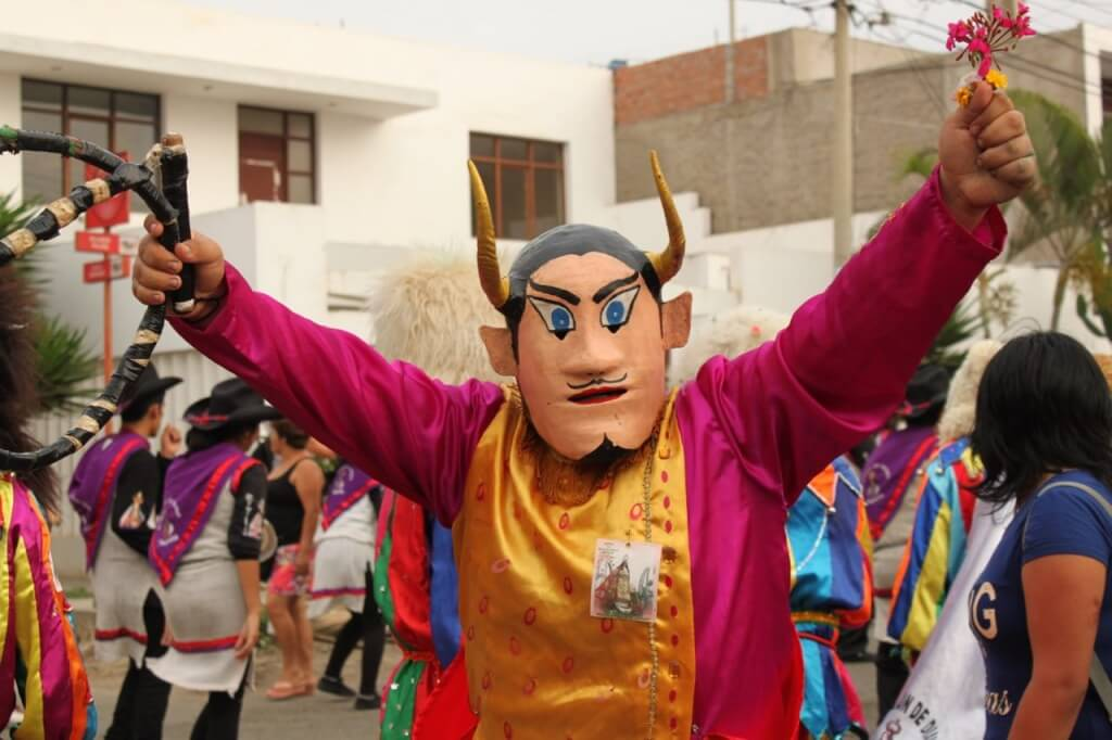 One of the friendly demons at Virgen del Socorro procession. Photo: V