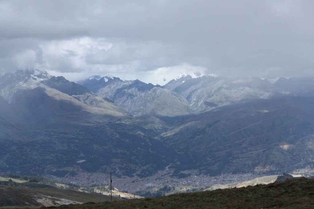 Huaraz below and the Cordillera Blanca. Photo by Nate