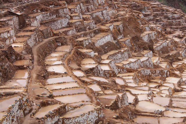 The chocolate looking, Maras salt mines. Photo by Nate