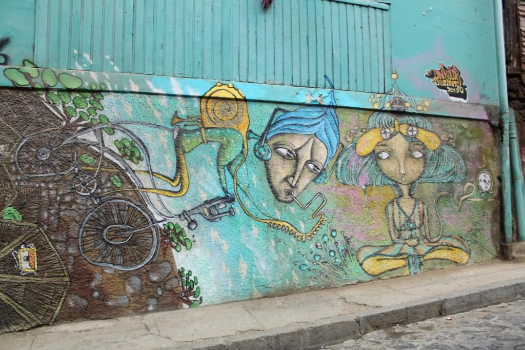 Murals on the streets of Valparaiso.  Photo by Amelia