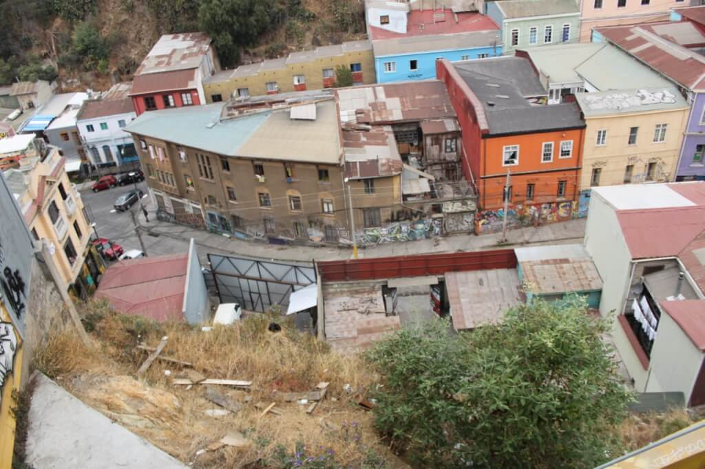Looking down on Valparaiso.  That black dot is a cat sleeping on the edge of a cliff.  Photo by Nate.
