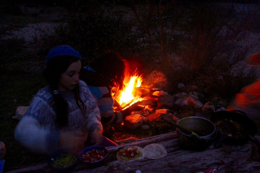 Mexican tacos by the fire. Photo: V