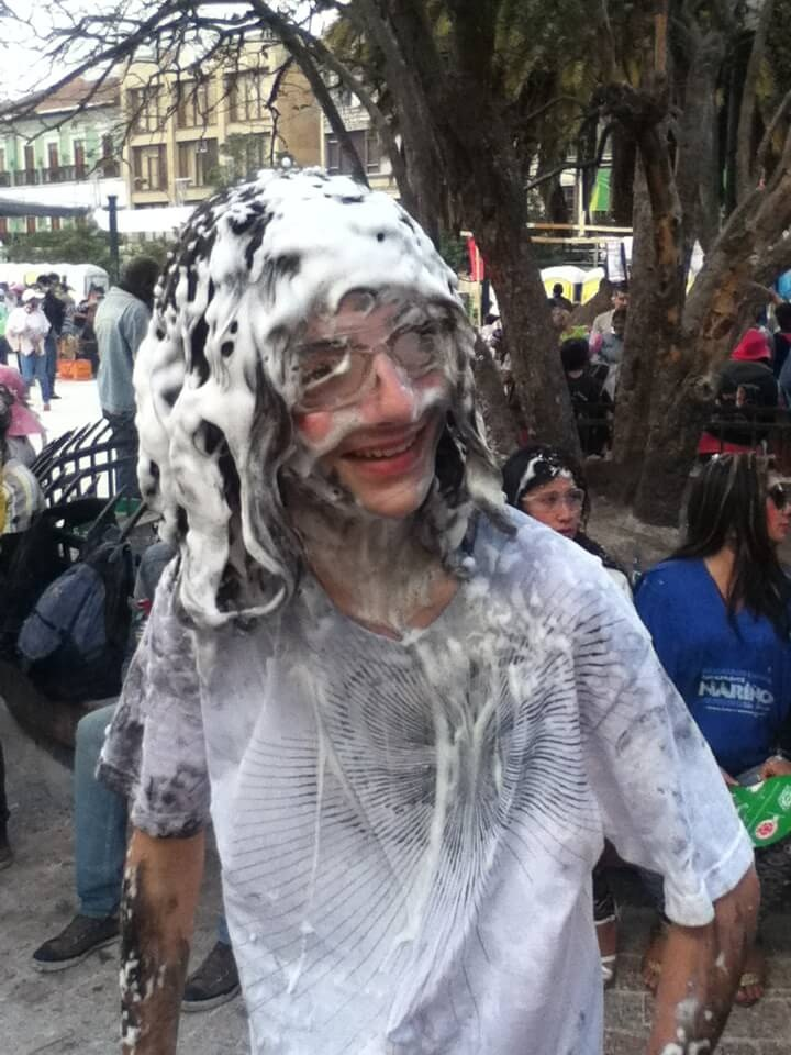 Benjamin covered in paint and foam. Photo: Nate